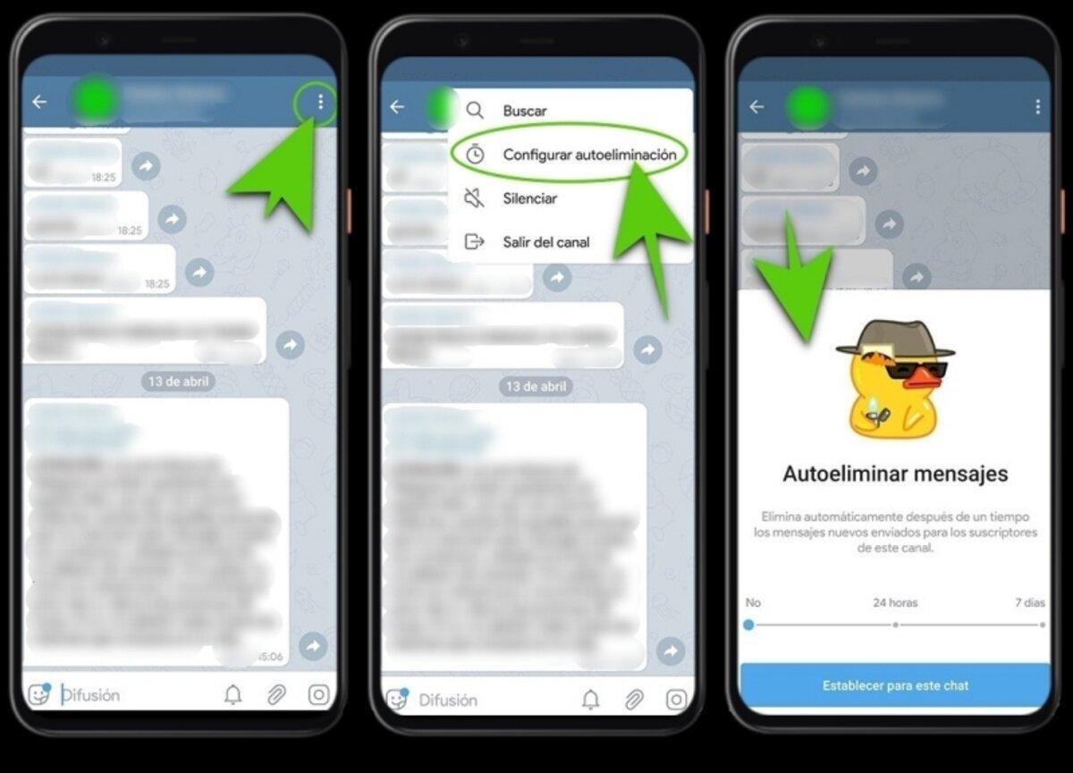 Activer l'autodestruction des messages dans Telegram