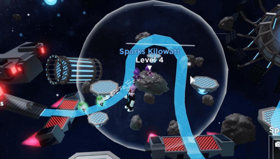 Placer un héros Sparks dans Tower Heroes.