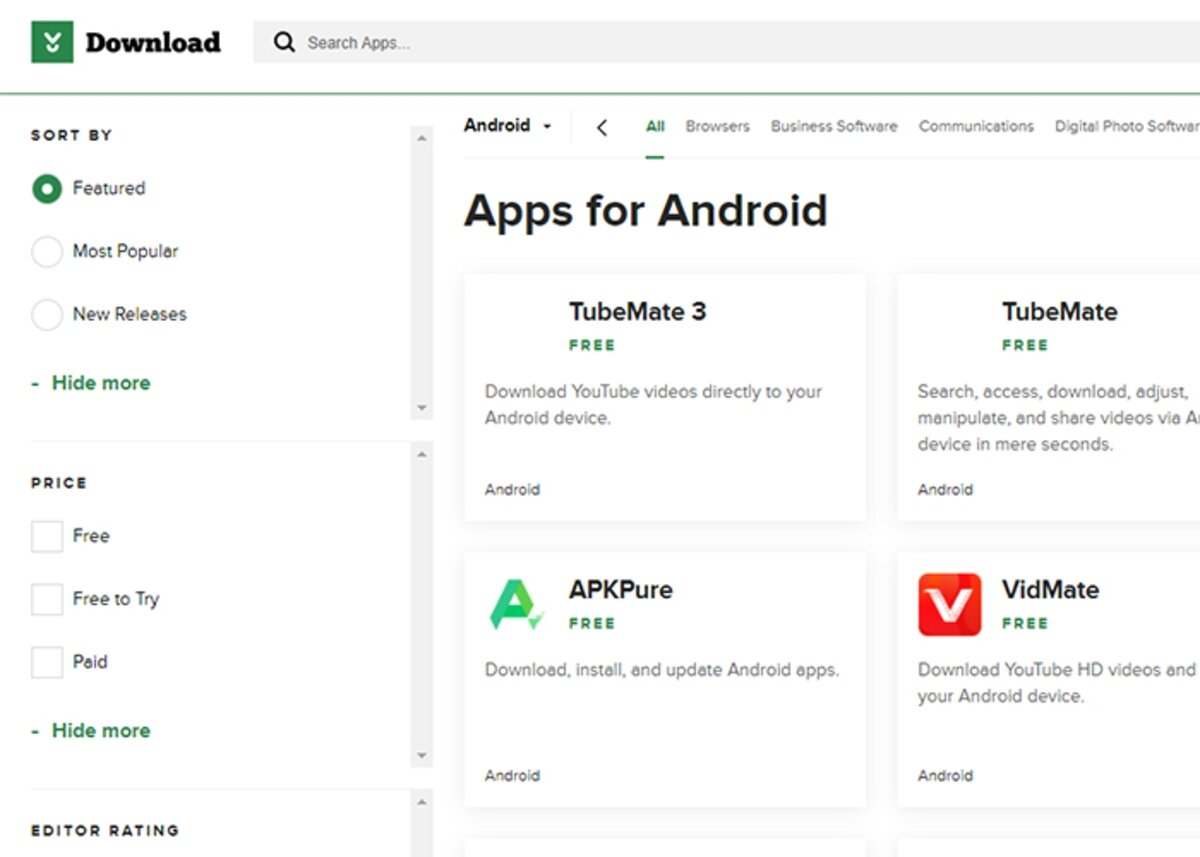 CNET Download-page pour télécharger des jeux Android