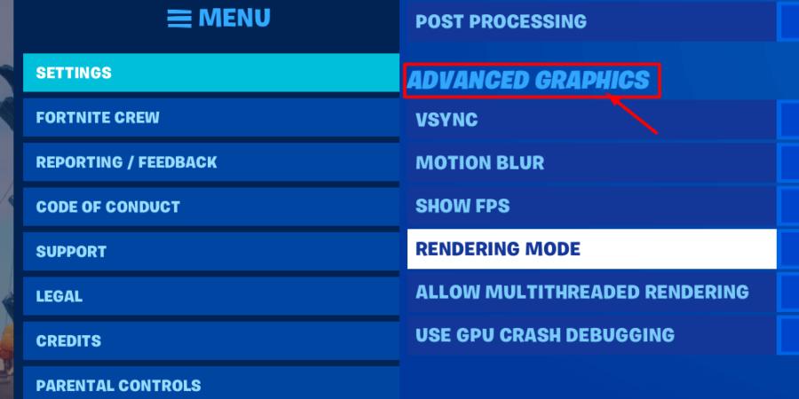 Comment accéder aux options graphiques avancées.