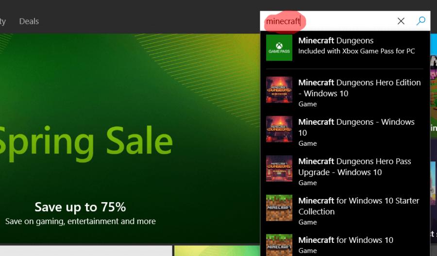 Recherche de Minecraft dans l'App Store de Windows.