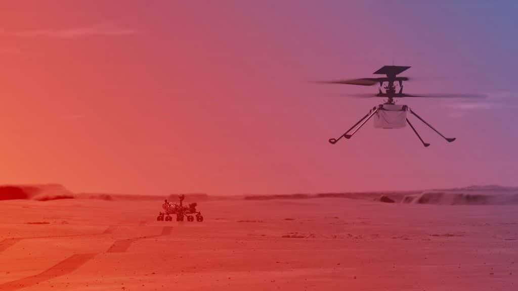 L'illustration imagine le premier vol de l'hélicoptère Ingenuity à la surface de Mars