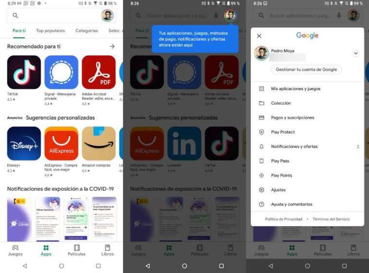Google Play Store lance le design: adieu le menu latéral de l'application