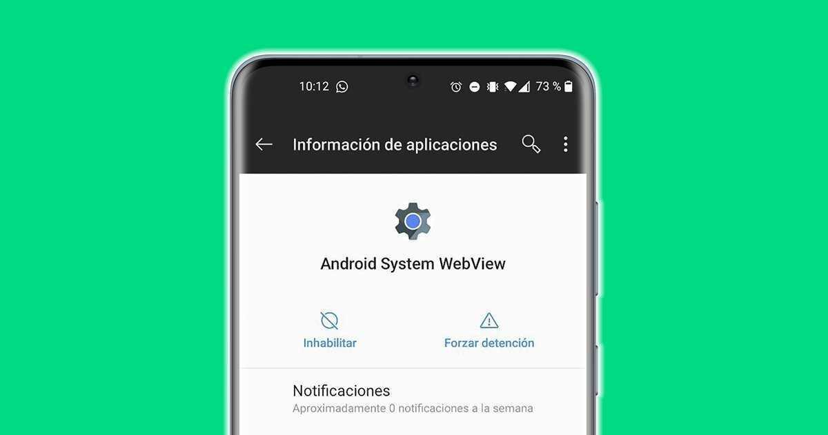 Application Android System WebView sur un mobile