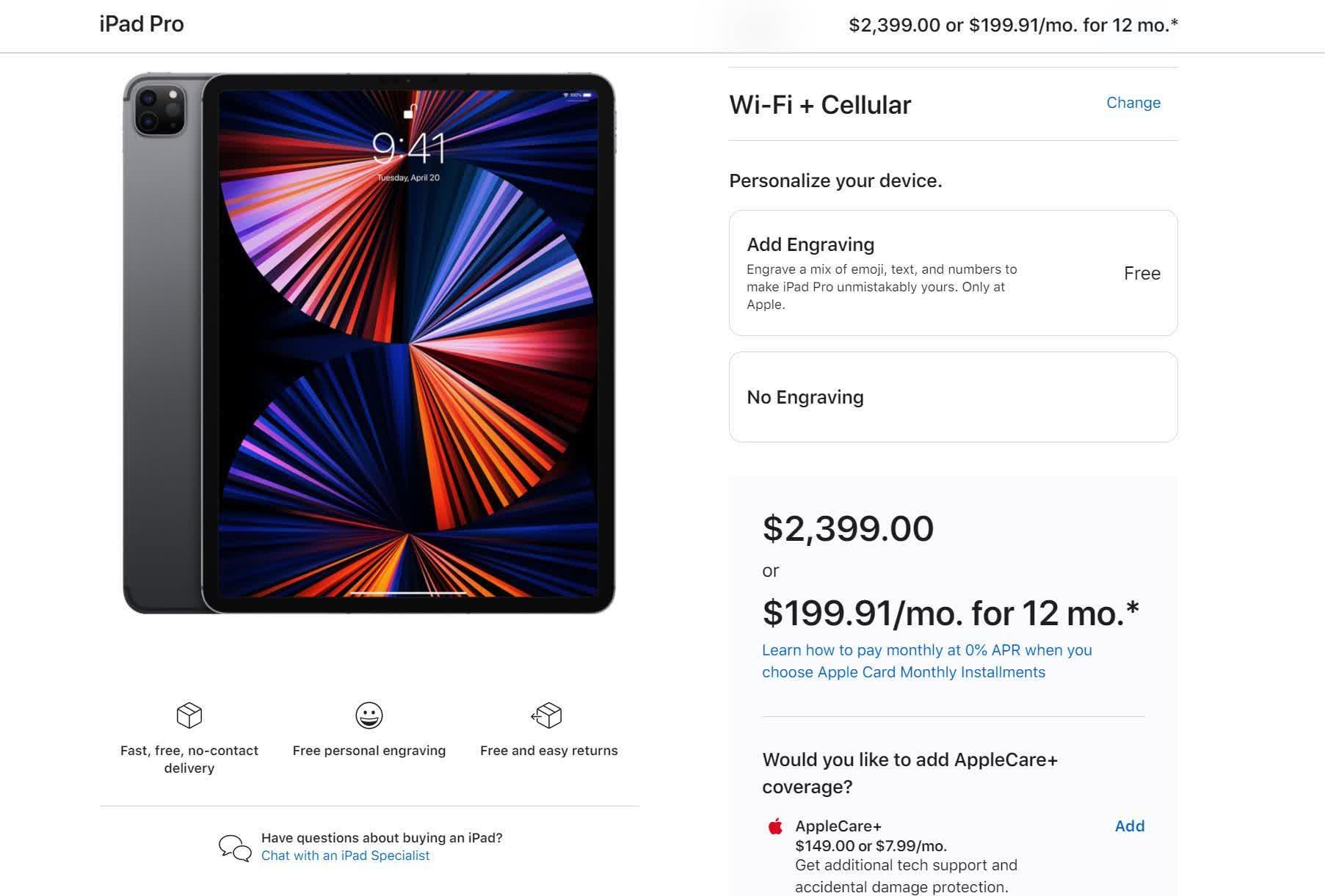 Le nouvel iPad Pro le plus performant coute 2400