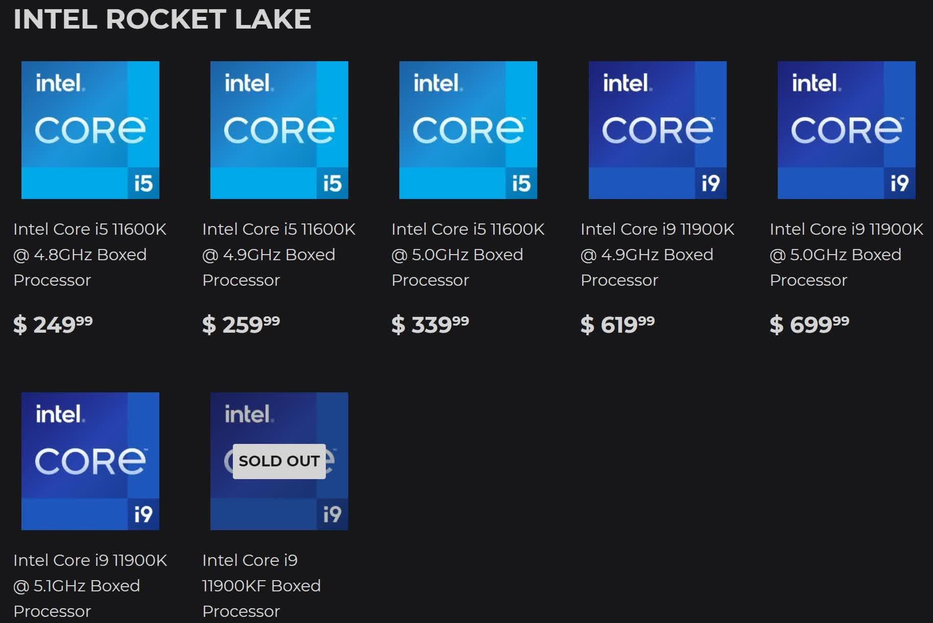 Les prix dIntel Rocket Lake baissent des puces pre groupees sont