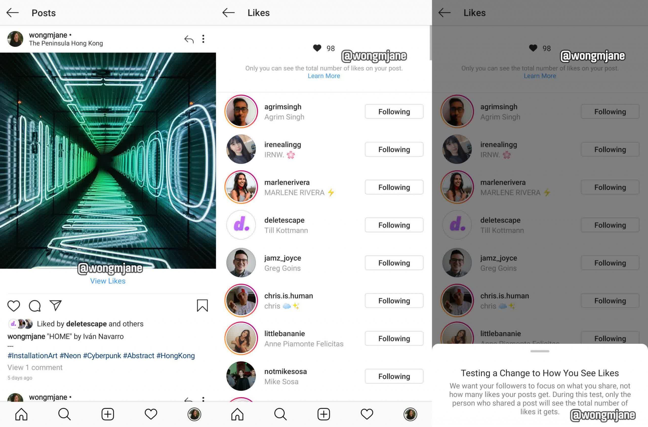 Masquer ou afficher les mentions Jaime Instagram et Facebook donnent