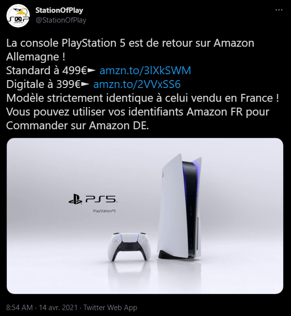 Ps5 Stock Compte Account Follow Twitter