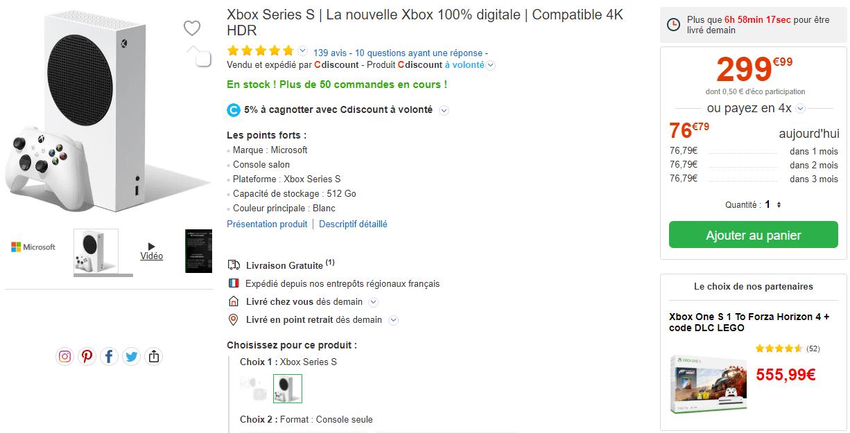 Xbox Series S Stock Cdiscount