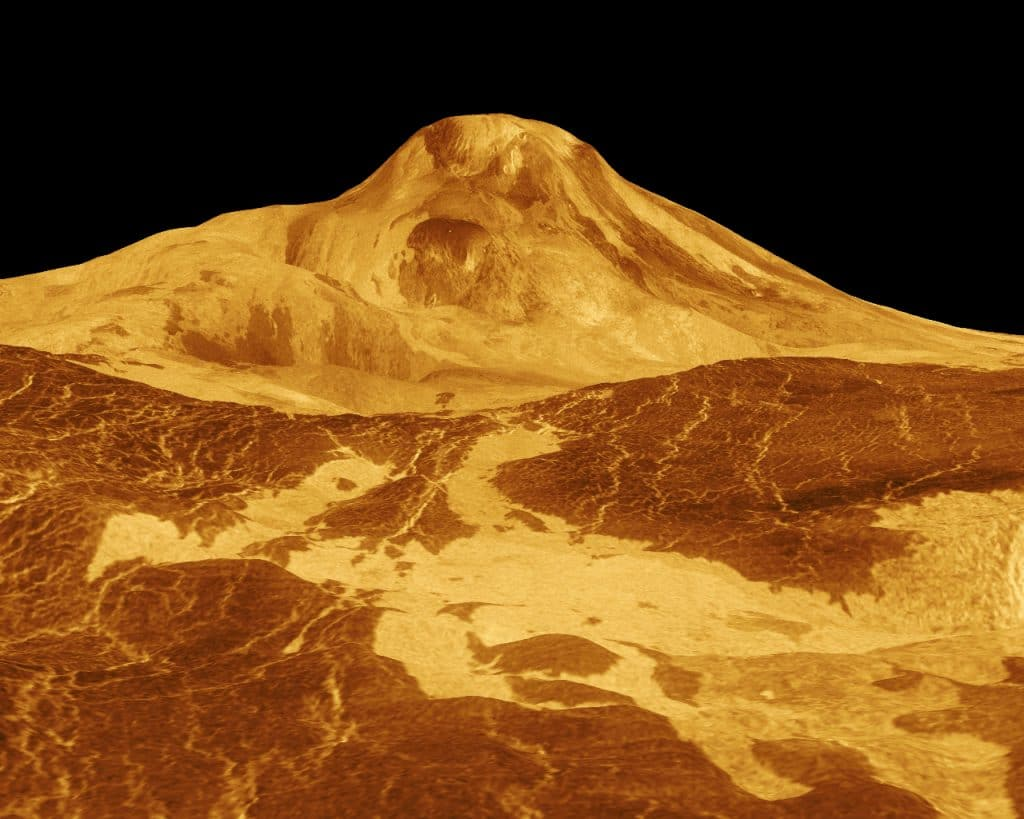 Vue 3D de Maat Mons, sur Vénus, prise par le vaisseau spatial Magellan le 14 mars 1996