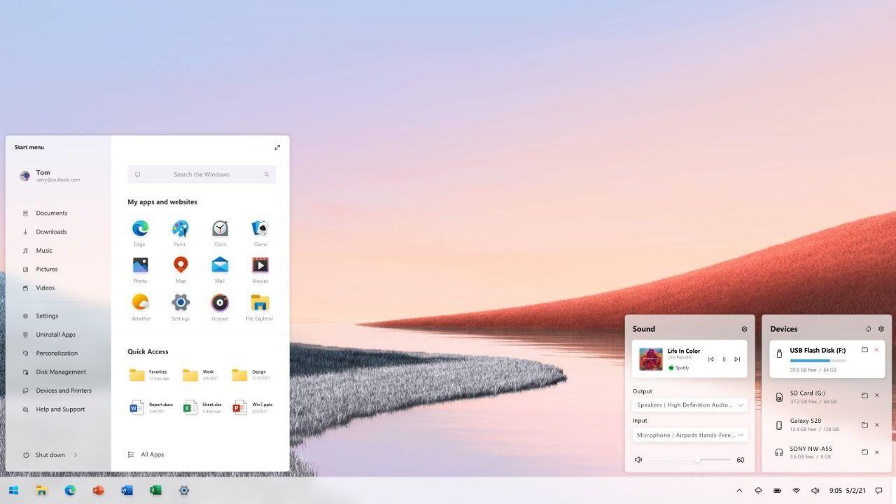Concept du nouveau menu Démarrer de Windows 10