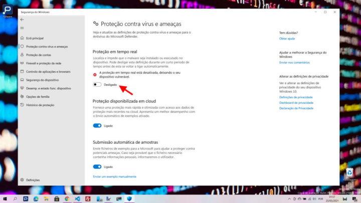 Fichier d'application de sécurité Windows 10 Defender