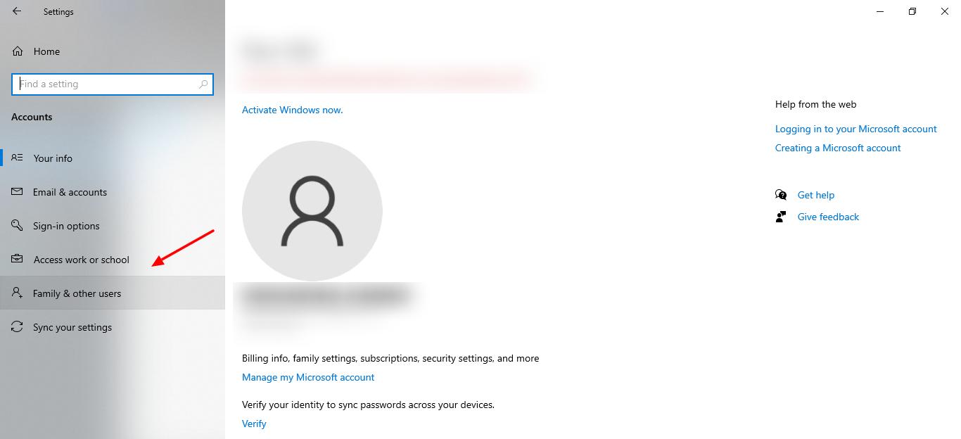 capture d'écran de l'onglet Famille et autres utilisateurs dans les paramètres de Windows 10