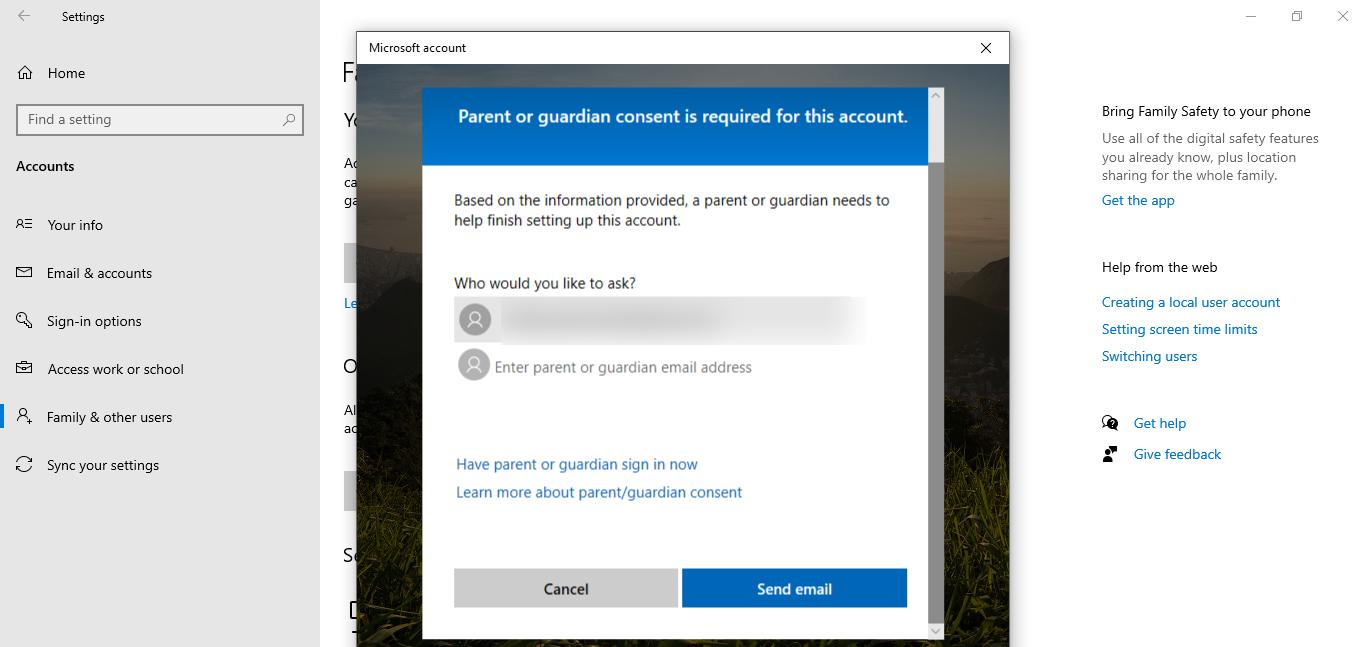 capture d'écran de l'adresse e-mail du tuteur dans Windows 10