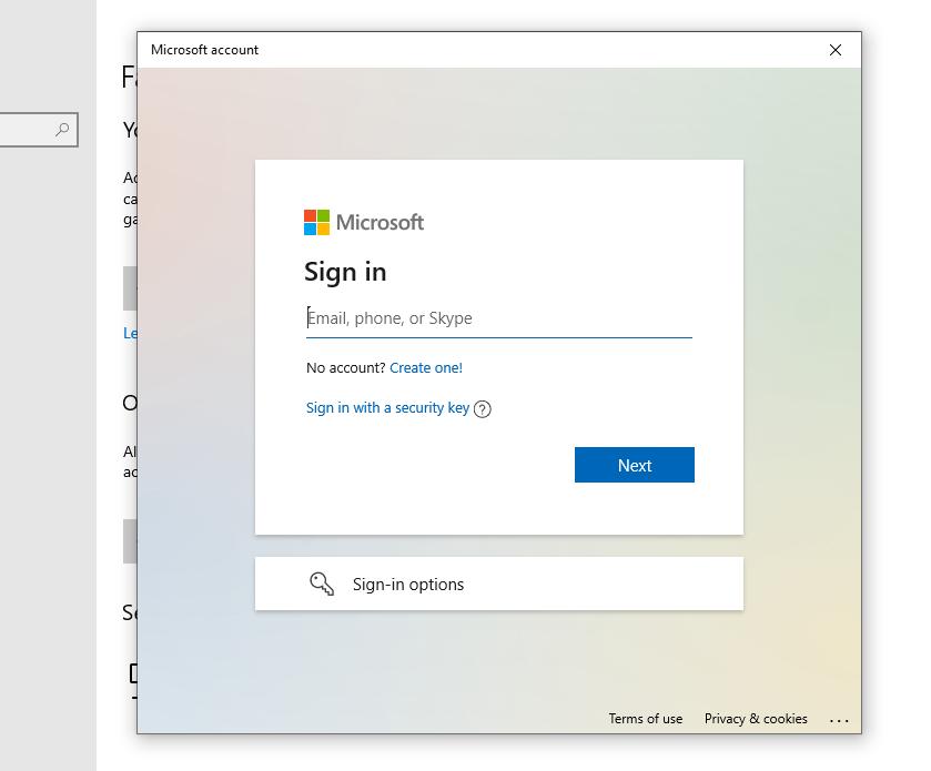 capture d'écran de Inscrivez-vous avec Outlook