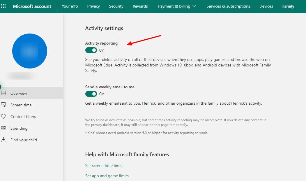capture d'écran du rapport d'activité dans le contrôle parental de Windows 10