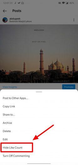 cacher les likes instagram sur un seul post