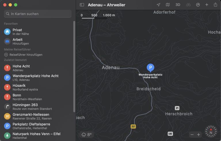 Apple Maps est préinstallé sur l'iPhone, l'iPad et - ici - le Mac.