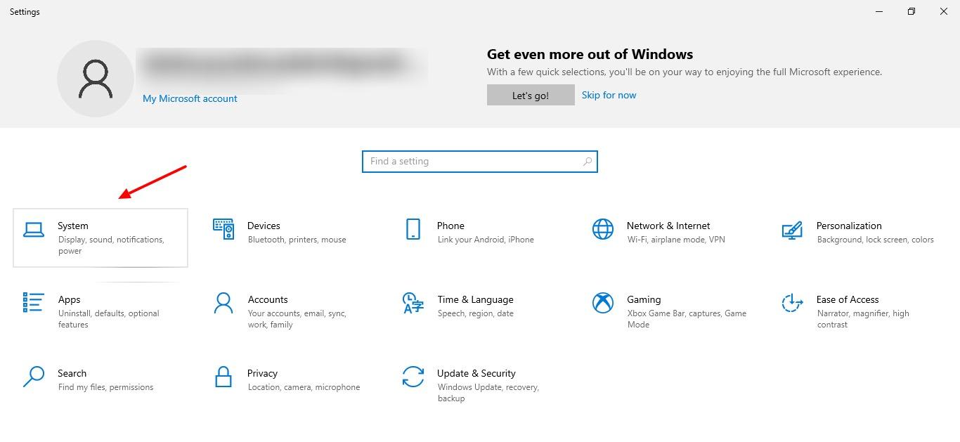 capture d'écran de l'onglet des paramètres dans Windows 10