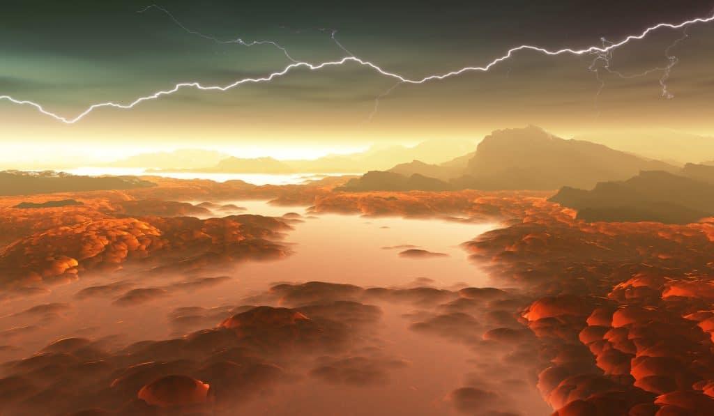 Illustration 3D des rivières de lave de Vénus