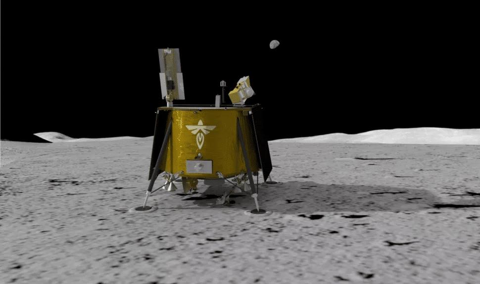 L'image montre un rendu 3D du module Ghost Lander de Firefly Aerospace, qui se rendra sur la Lune avec une fusée SpaceX