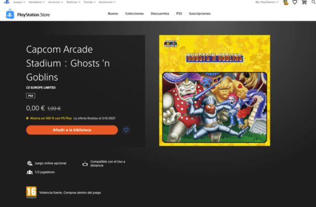 Ghosts 'n Goblins PS4 gratuit PS5 Capcom Arcade Stadium PS Plus