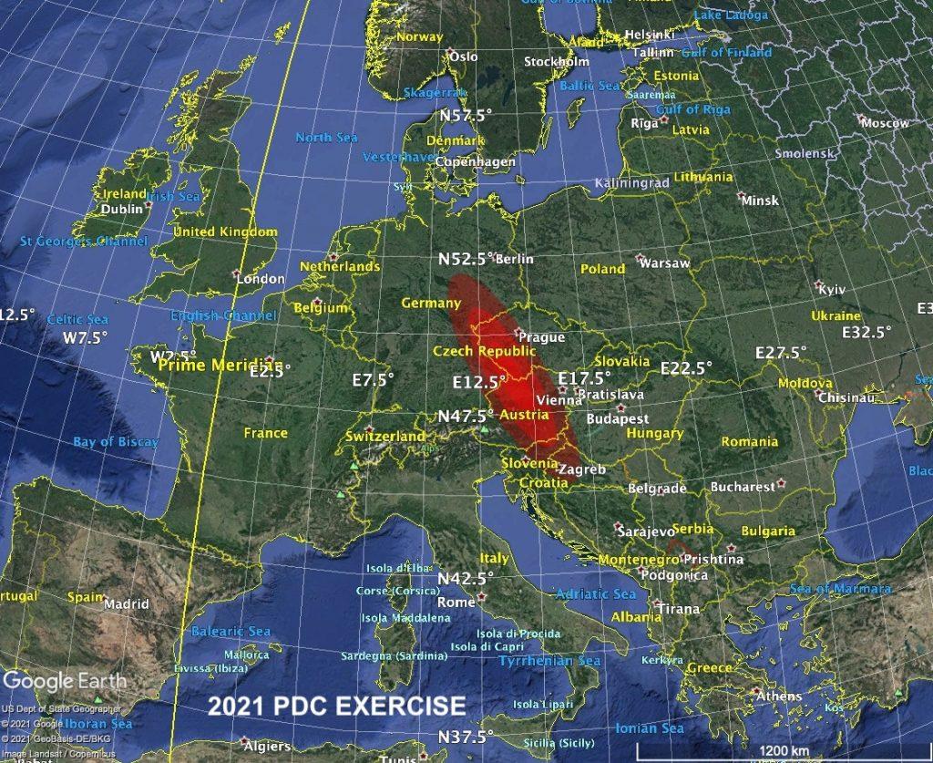 Région d'impact hypothétique 2021PDC.  Image: CNEOS / NASA