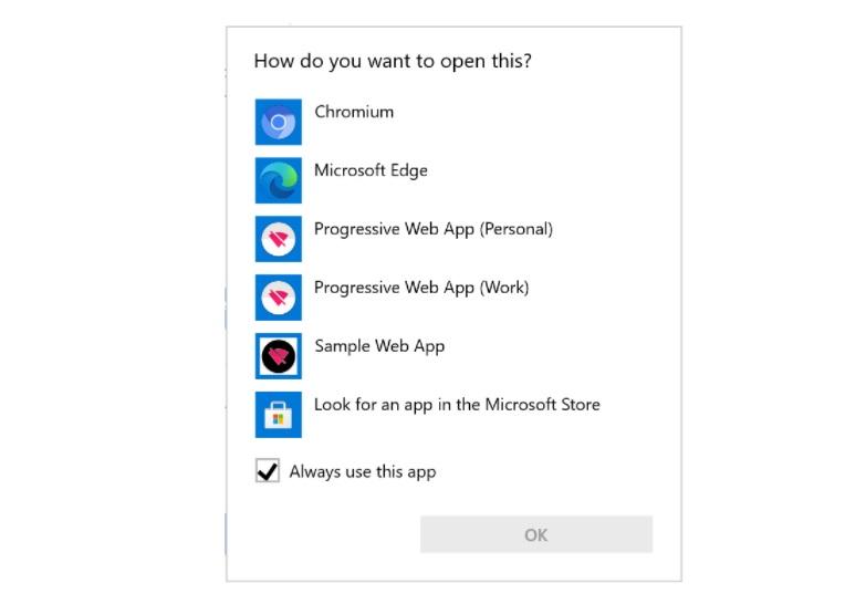 """Boîte de dialogue """"Ouvrir avec"""" dans Windows 10 avec des PWA"""