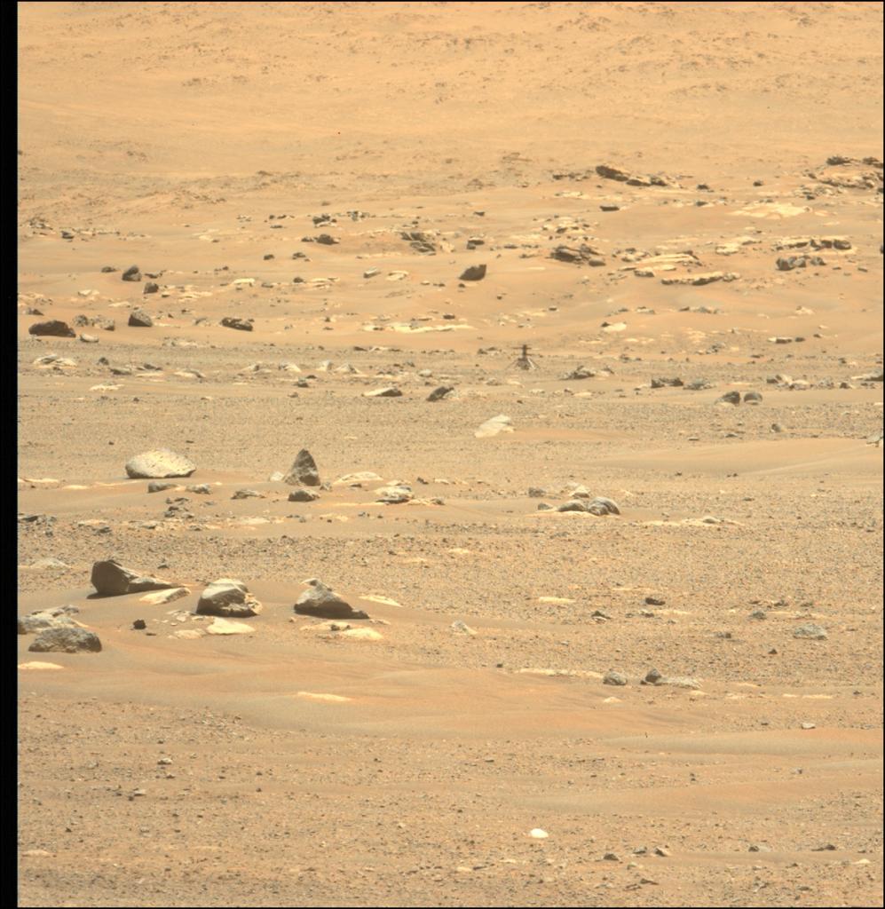 Photo de l'hélicoptère Ingenuity prise par le rover Perseverance
