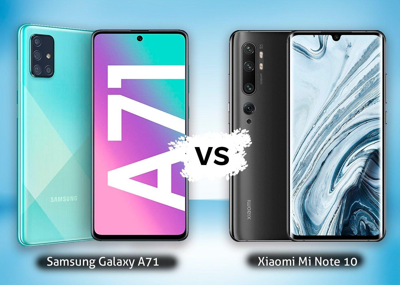 Samsung Galaxy A71 vs Xiaomi Mi Note 10, comparaison