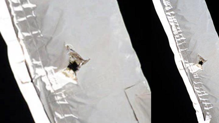 Image du trou causé par des débris dans le bras de la Station spatiale internationale