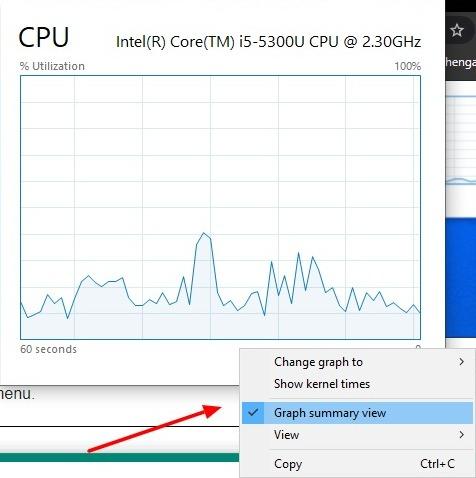Capture d'écran de la vue récapitulative du graphique dans le Gestionnaire des tâches sous Windows 10