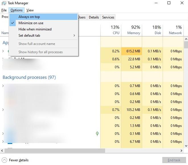 Capture d'écran de Toujours au top dans le Gestionnaire des tâches de Windows 10