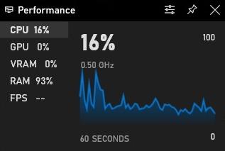 Capture d'écran du panneau oPerformane de la barre de jeu sous Windows 10f
