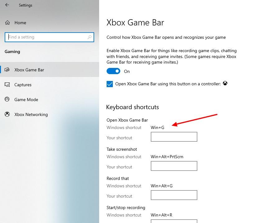 capture d'écran de l'activation de la touche courte dans la barre de jeu Cbox sous Windows 10