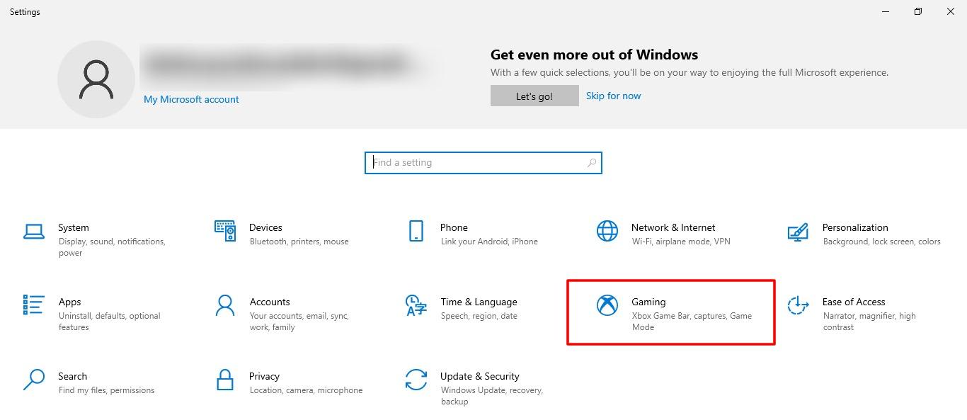 Capture d'écran de l'onglet Jeux dans la configuration de Windows 10