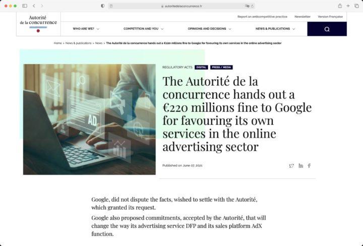 Site de réglementation français qui inflige une amende à Google pour dominance publicitaire