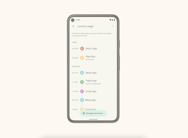 Panneau de confidentialité Android 12