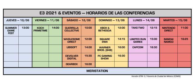 E3 2021 - Horaires pour Mexico