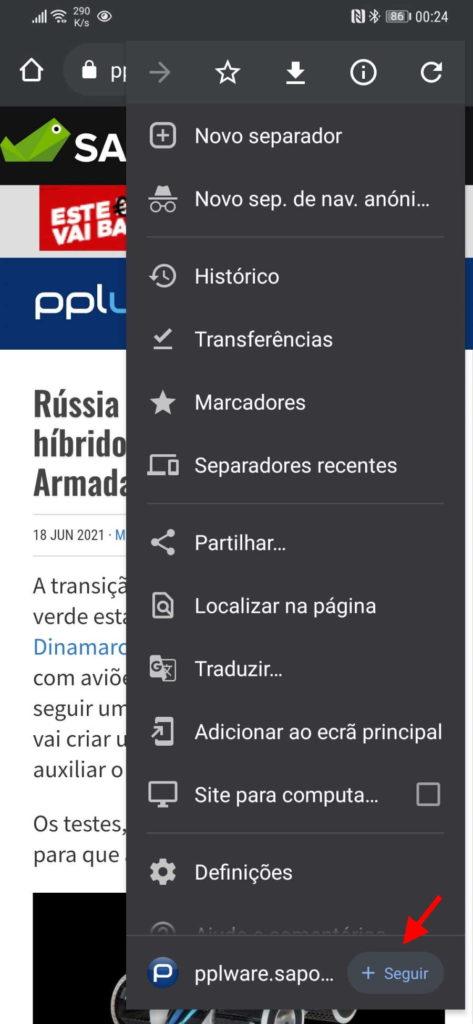 Test RSS du navigateur Chrome Android