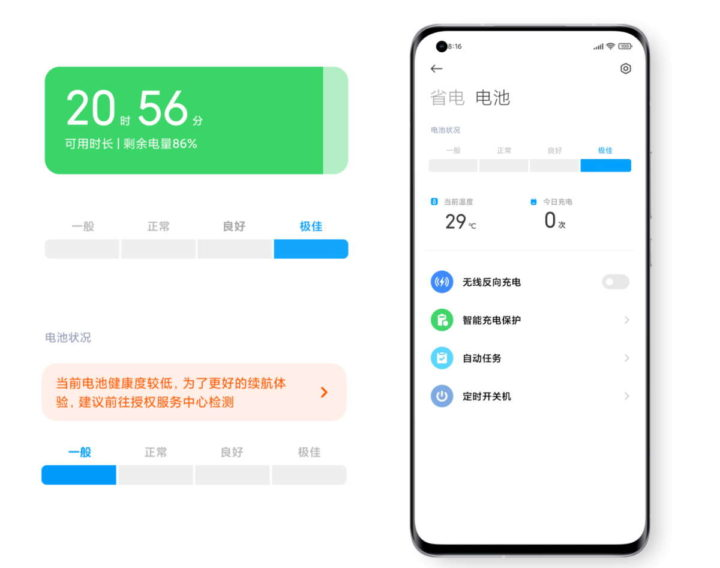 Informations sur la batterie du smartphone Xiaomi MIUI 12.5