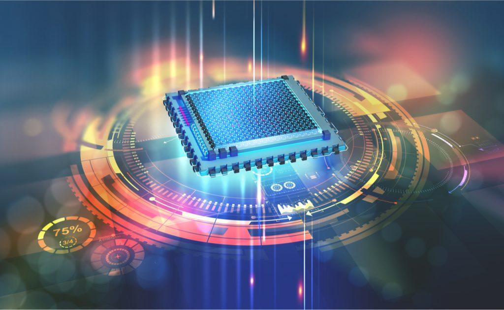 L'illustration montre un processeur de couleur bleue, symbolisant le travail des chercheurs sur l'informatique quantique