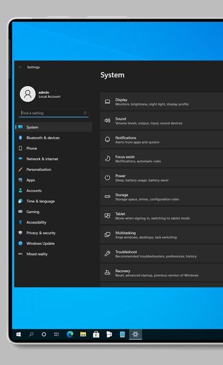 Application de configuration Windows 11