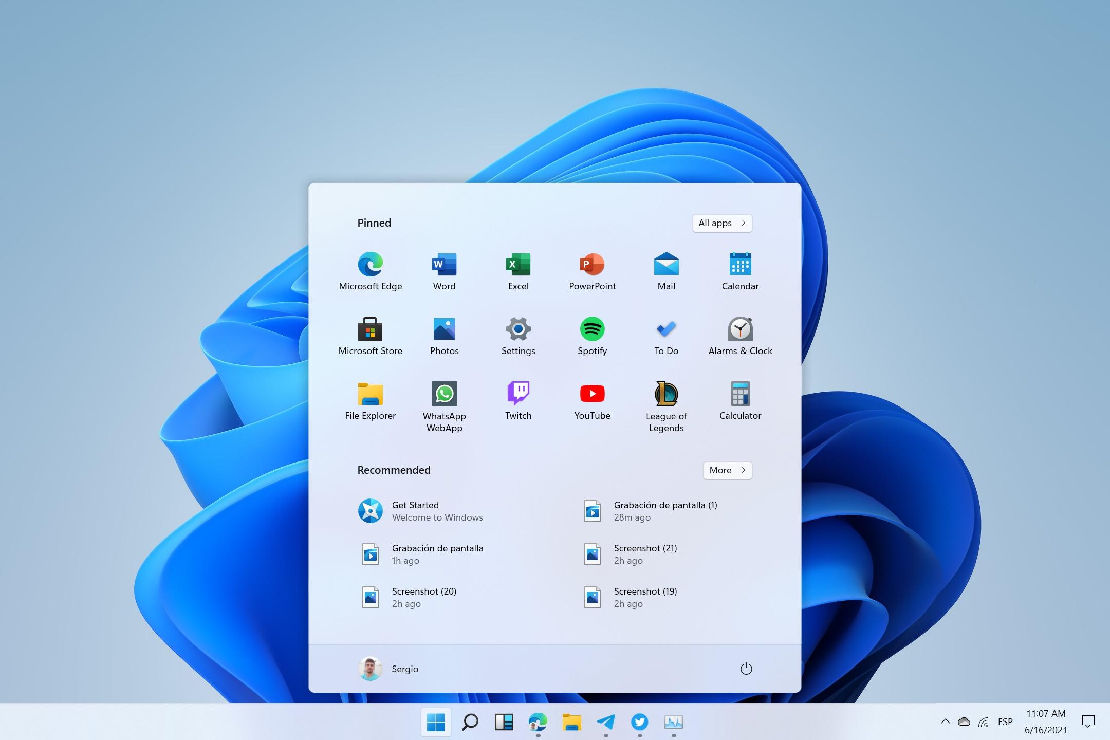 Menu Démarrer de Windows 11