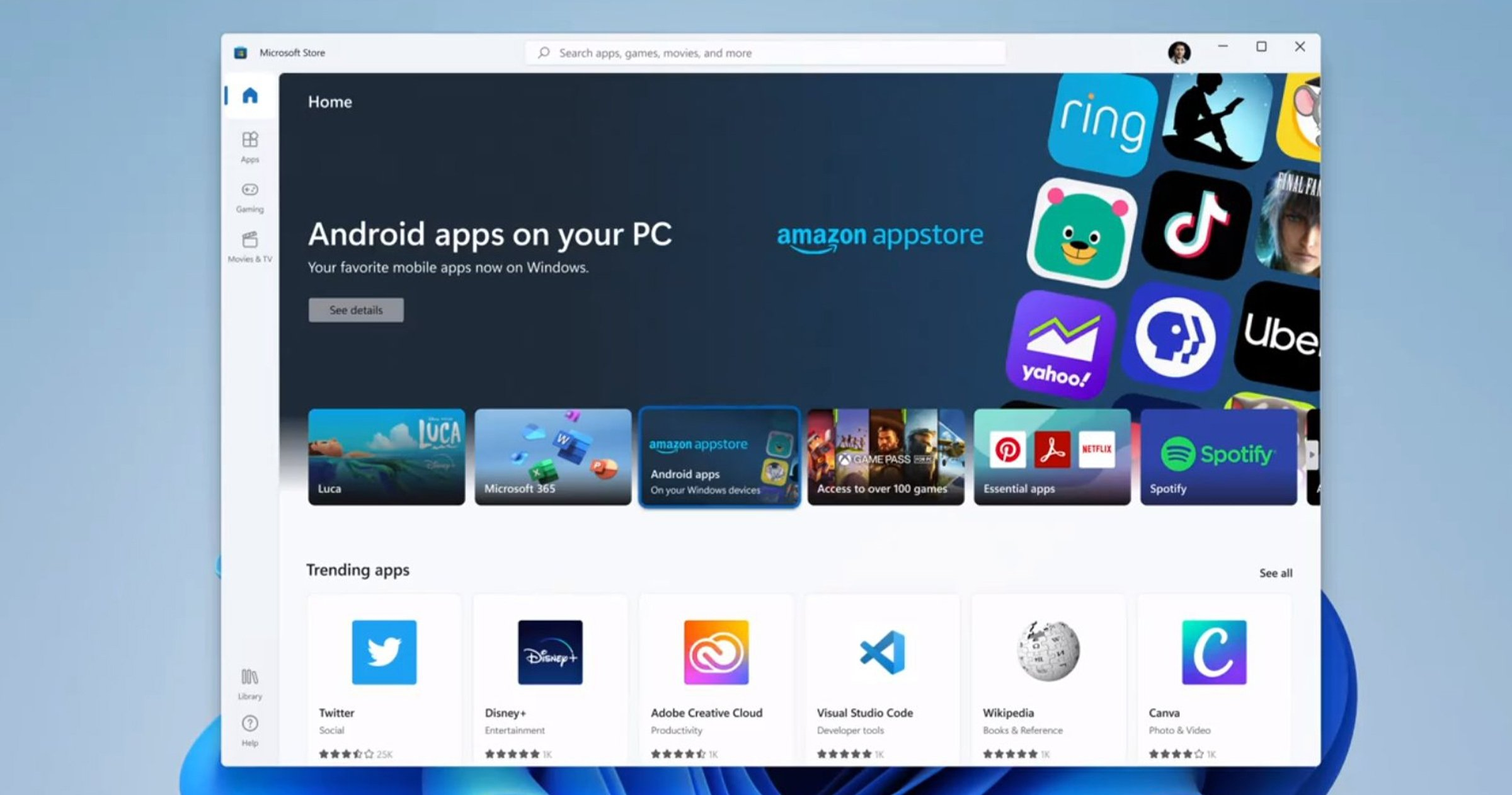 Applications Android sur Windows 11