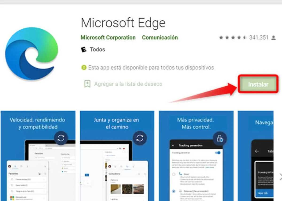 Microsoft Edge Play Store