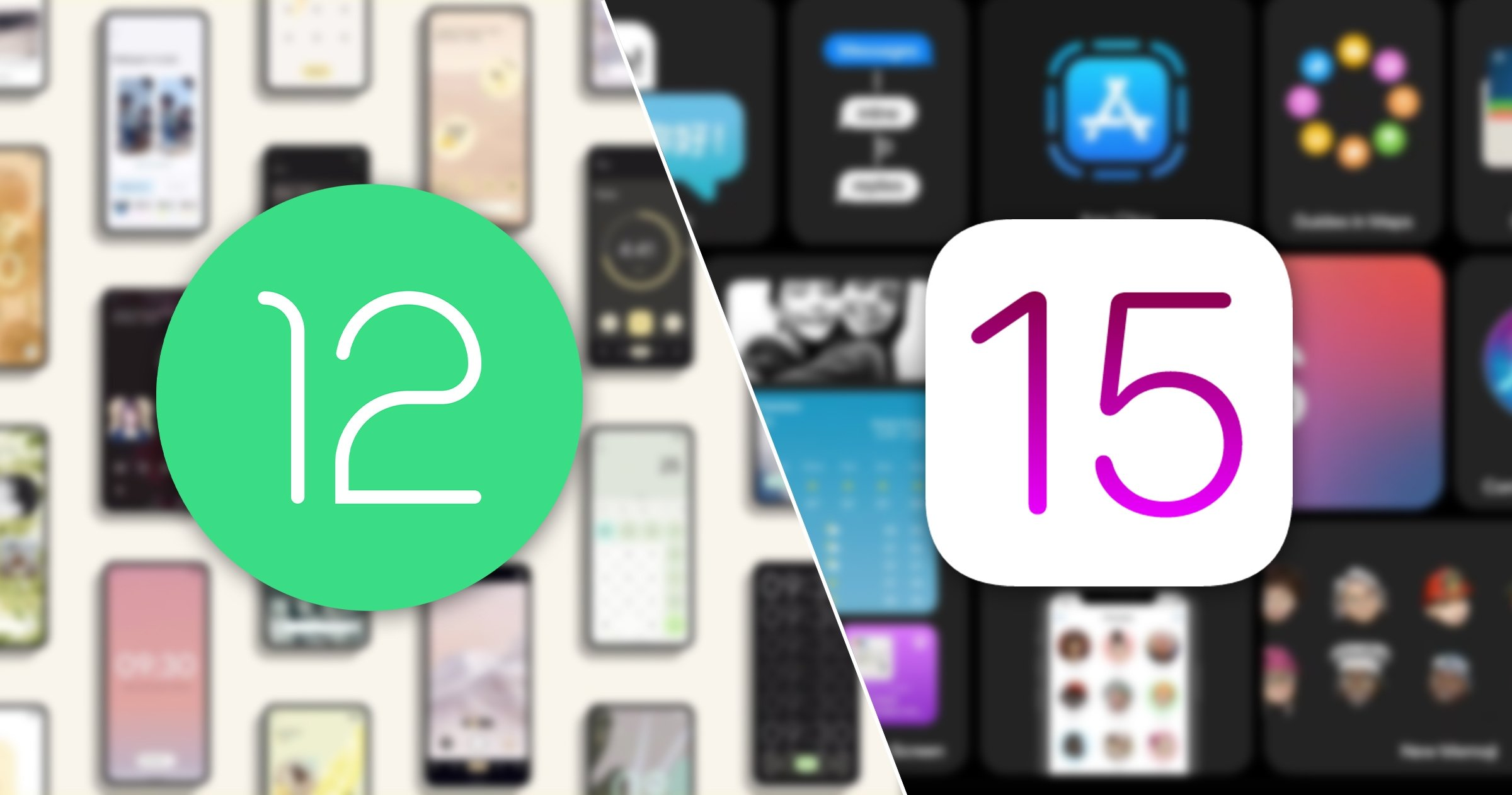 Android 12 contre iOS 15