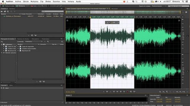 Image de l'interface utilisateur d'Adobe Audition