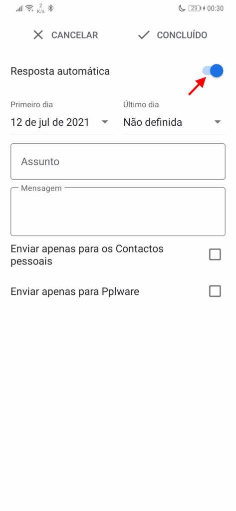 Messages de réponse automatique de vacances Gmail