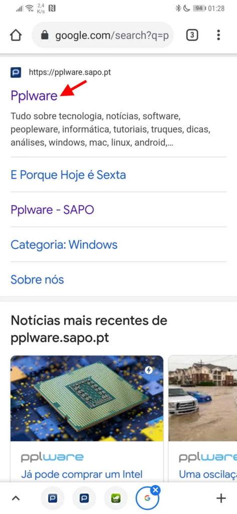 Résultats de recherche du navigateur Chrome